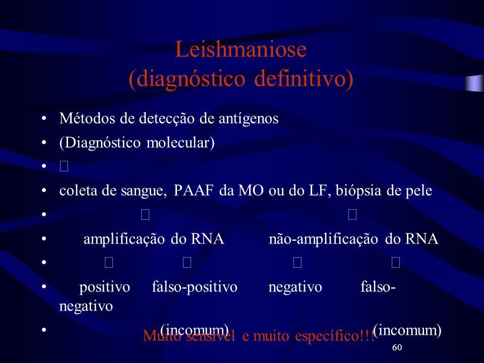 60 Leishmaniose (diagnóstico definitivo) Métodos de detecção de antígenos (Diagnóstico molecular) coleta de sangue, PAAF da MO ou do LF, biópsia de pe