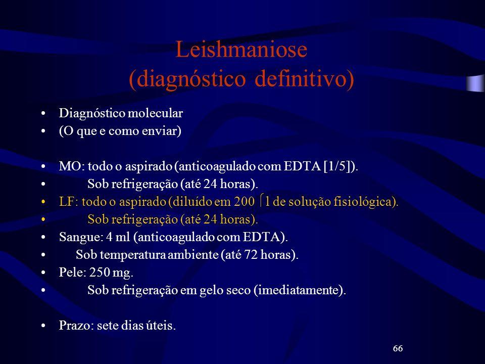 66 Leishmaniose (diagnóstico definitivo) Diagnóstico molecular (O que e como enviar) MO: todo o aspirado (anticoagulado com EDTA [1/5]). Sob refrigera