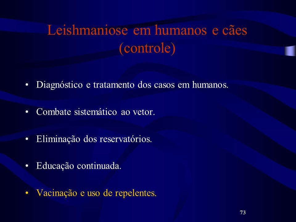 73 Leishmaniose em humanos e cães (controle) Diagnóstico e tratamento dos casos em humanos. Combate sistemático ao vetor. Eliminação dos reservatórios