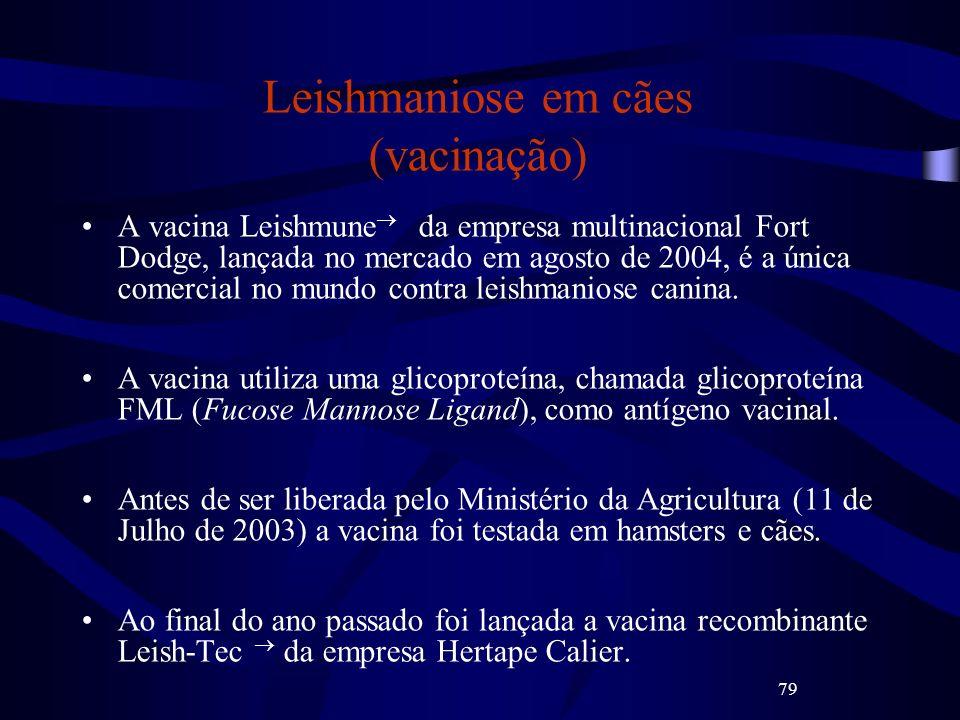 79 Leishmaniose em cães (vacinação) A vacina Leishmune da empresa multinacional Fort Dodge, lançada no mercado em agosto de 2004, é a única comercial