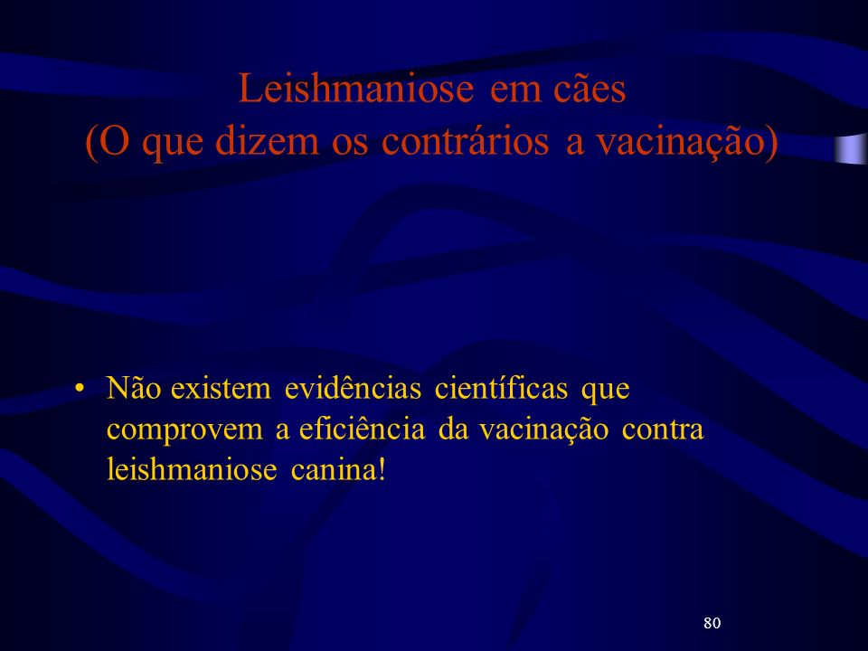 80 Leishmaniose em cães (O que dizem os contrários a vacinação) Não existem evidências científicas que comprovem a eficiência da vacinação contra leis