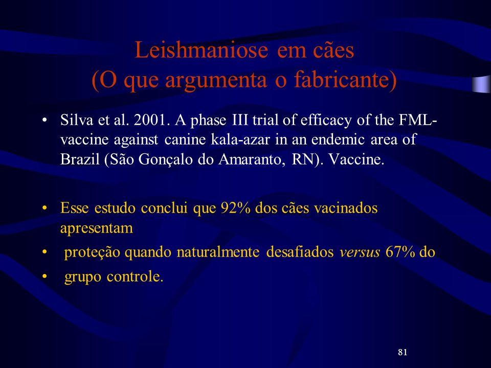 81 Leishmaniose em cães (O que argumenta o fabricante) Silva et al. 2001. A phase III trial of efficacy of the FML- vaccine against canine kala-azar i