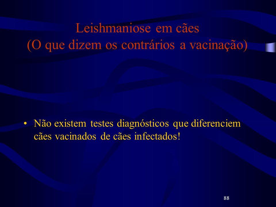 88 Leishmaniose em cães (O que dizem os contrários a vacinação) Não existem testes diagnósticos que diferenciem cães vacinados de cães infectados!