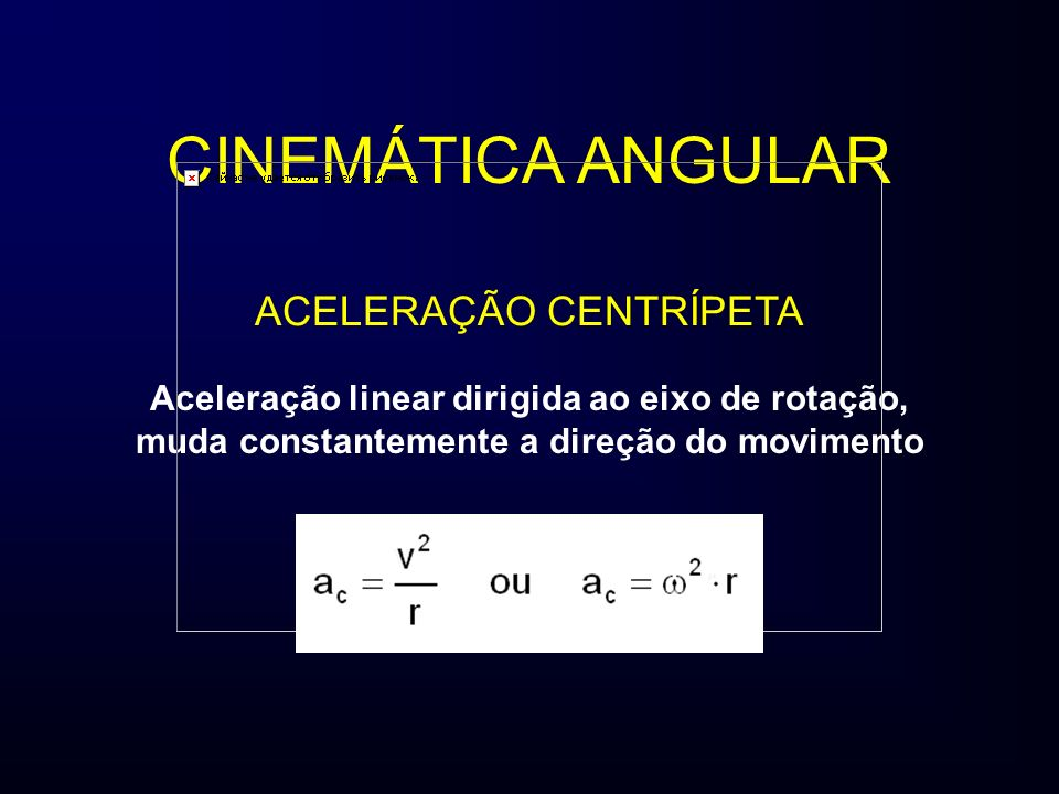 ACELERAÇÃO CENTRÍPETA Aceleração linear dirigida ao eixo de rotação, muda constantemente a direção do movimento