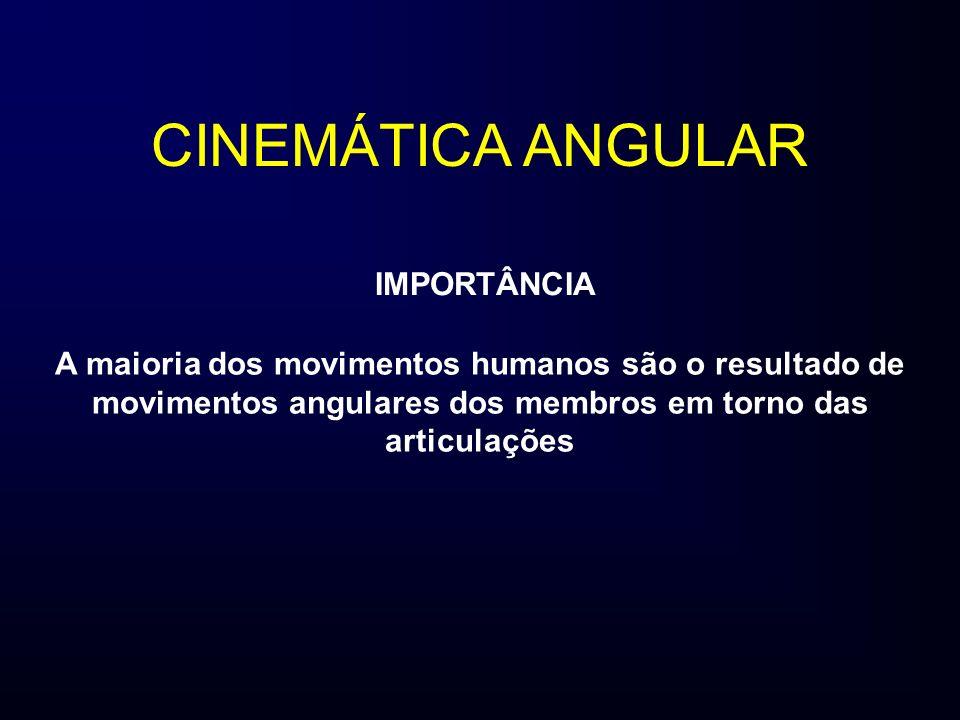 IMPORTÂNCIA A maioria dos movimentos humanos são o resultado de movimentos angulares dos membros em torno das articulações