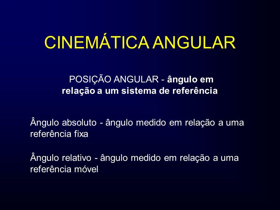 CINEMÁTICA ANGULAR POSIÇÃO ANGULAR - ângulo em relação a um sistema de referência Ângulo absoluto - ângulo medido em relação a uma referência fixa Âng