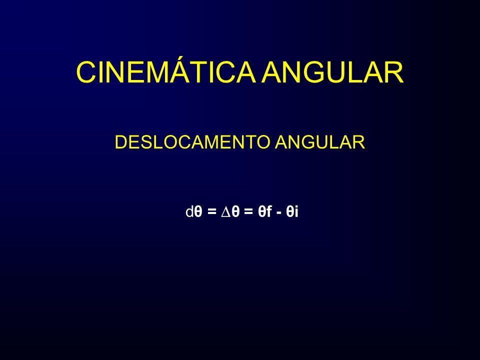 DESLOCAMENTO ANGULAR dθ = θ = θf - θi CINEMÁTICA ANGULAR