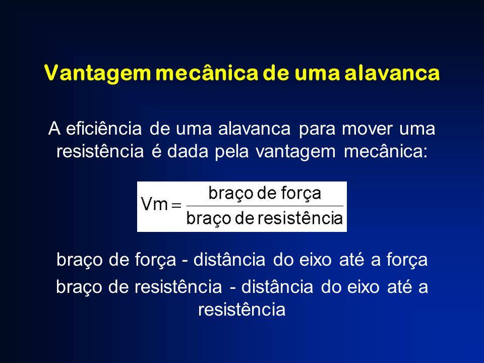 Vantagem mecânica de uma alavanca A eficiência de uma alavanca para mover uma resistência é dada pela vantagem mecânica: braço de força - distância do