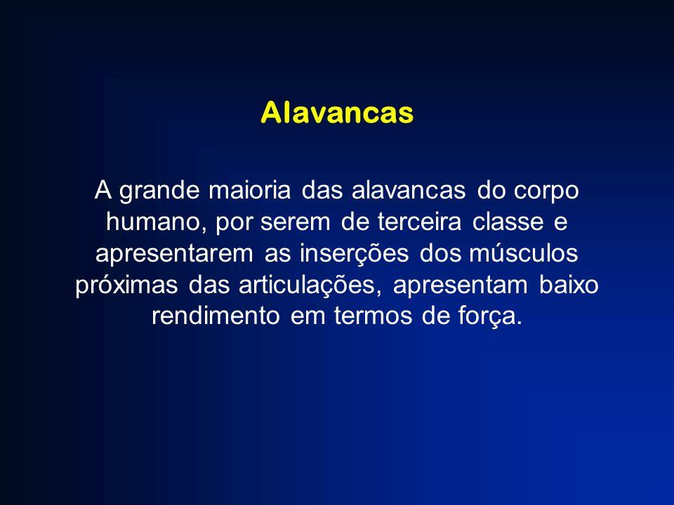 Alavancas A grande maioria das alavancas do corpo humano, por serem de terceira classe e apresentarem as inserções dos músculos próximas das articulaç
