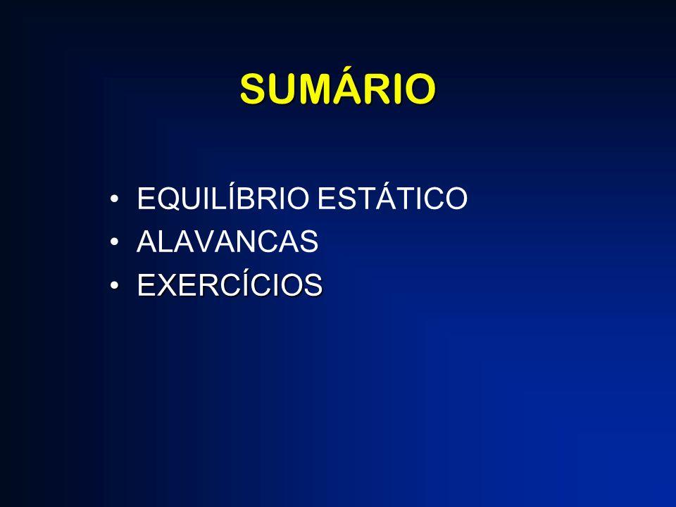 SUMÁRIO EQUILÍBRIO ESTÁTICO ALAVANCAS EXERCÍCIOSEXERCÍCIOS