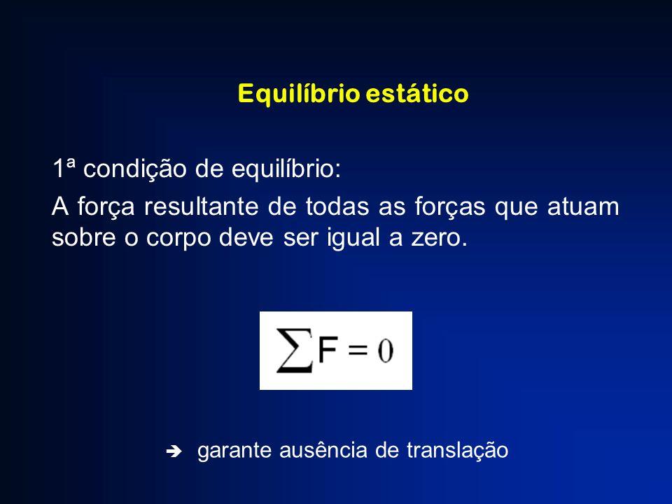 Equilíbrio estático 2ª condição de equilíbrio: O momento resultante de todas as forças que atuam sobre o corpo em relação a qualquer eixo deve ser igual a zero.