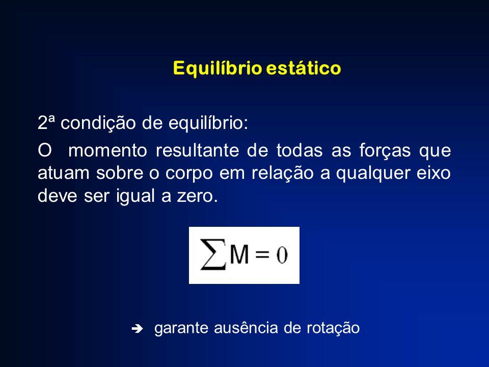 Equilíbrio estático 2ª condição de equilíbrio: O momento resultante de todas as forças que atuam sobre o corpo em relação a qualquer eixo deve ser igu
