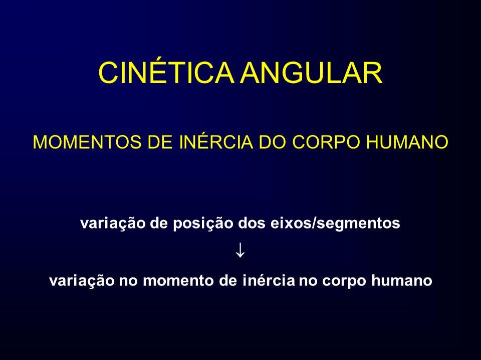 CINÉTICA ANGULAR MOMENTOS DE INÉRCIA DO CORPO HUMANO variação de posição dos eixos/segmentos variação no momento de inércia no corpo humano