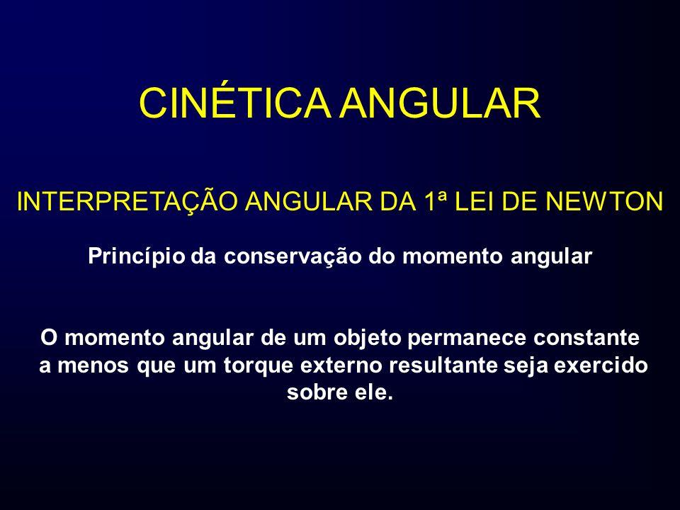 CINÉTICA ANGULAR INTERPRETAÇÃO ANGULAR DA 1ª LEI DE NEWTON Princípio da conservação do momento angular O momento angular de um objeto permanece consta