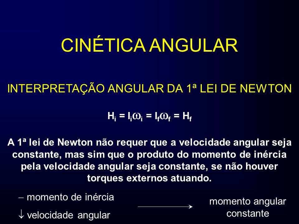 CINÉTICA ANGULAR INTERPRETAÇÃO ANGULAR DA 1ª LEI DE NEWTON H i = I i i = I f f = H f A 1ª lei de Newton não requer que a velocidade angular seja constante, mas sim que o produto do momento de inércia pela velocidade angular seja constante, se não houver torques externos atuando.