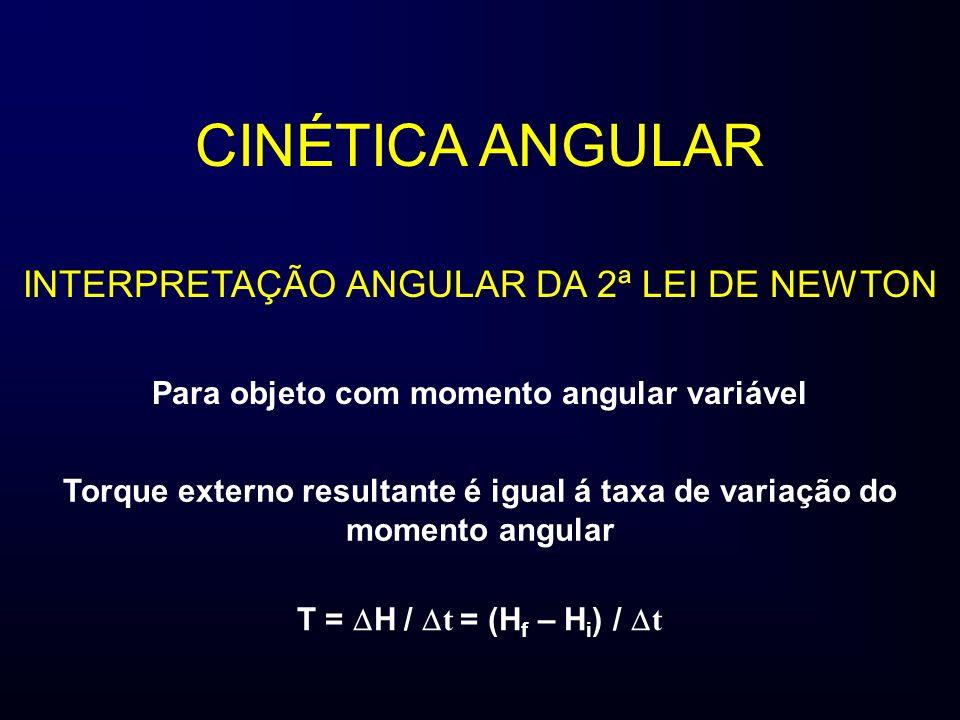 CINÉTICA ANGULAR INTERPRETAÇÃO ANGULAR DA 2ª LEI DE NEWTON Para objeto com momento angular variável Torque externo resultante é igual á taxa de variação do momento angular T = H / t = (H f – H i ) / t