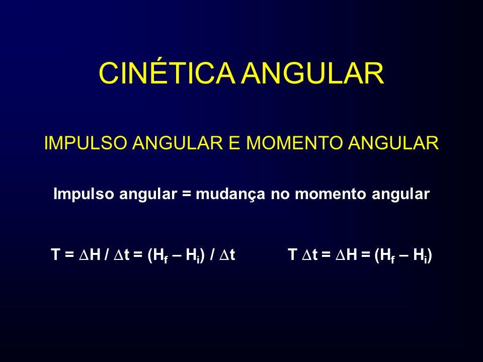 CINÉTICA ANGULAR IMPULSO ANGULAR E MOMENTO ANGULAR Impulso angular = mudança no momento angular T = H / t = (H f – H i ) / t T t = H = (H f – H i )