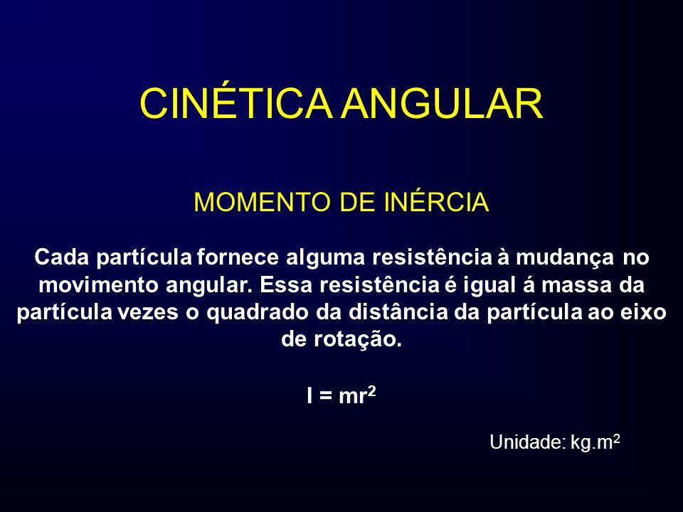 CINÉTICA ANGULAR MOMENTO DE INÉRCIA Cada partícula fornece alguma resistência à mudança no movimento angular.