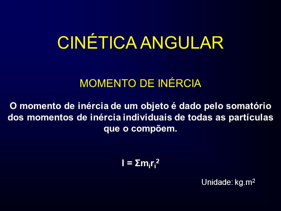 CINÉTICA ANGULAR MOMENTO DE INÉRCIA O momento de inércia de um objeto é dado pelo somatório dos momentos de inércia individuais de todas as partículas que o compõem.