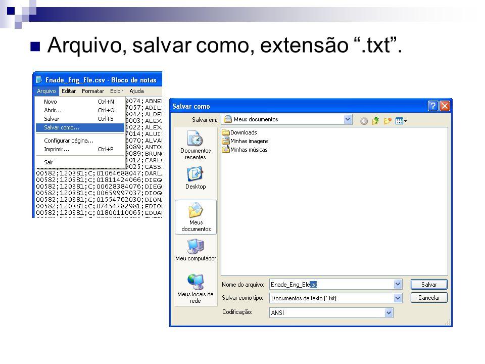 Arquivo, salvar como, extensão.txt.