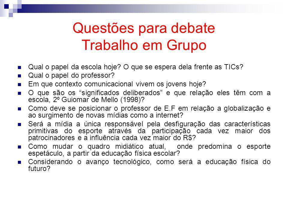 Questões para debate Trabalho em Grupo Qual o papel da escola hoje? O que se espera dela frente as TICs? Qual o papel do professor? Em que contexto co