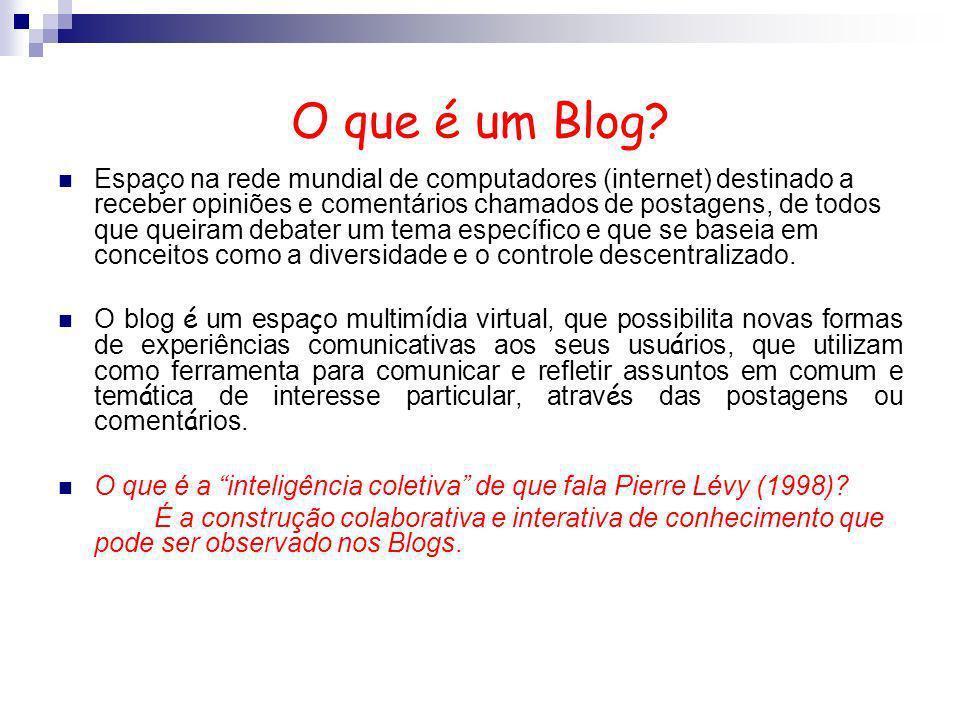 O que é um Blog? Espaço na rede mundial de computadores (internet) destinado a receber opiniões e comentários chamados de postagens, de todos que quei