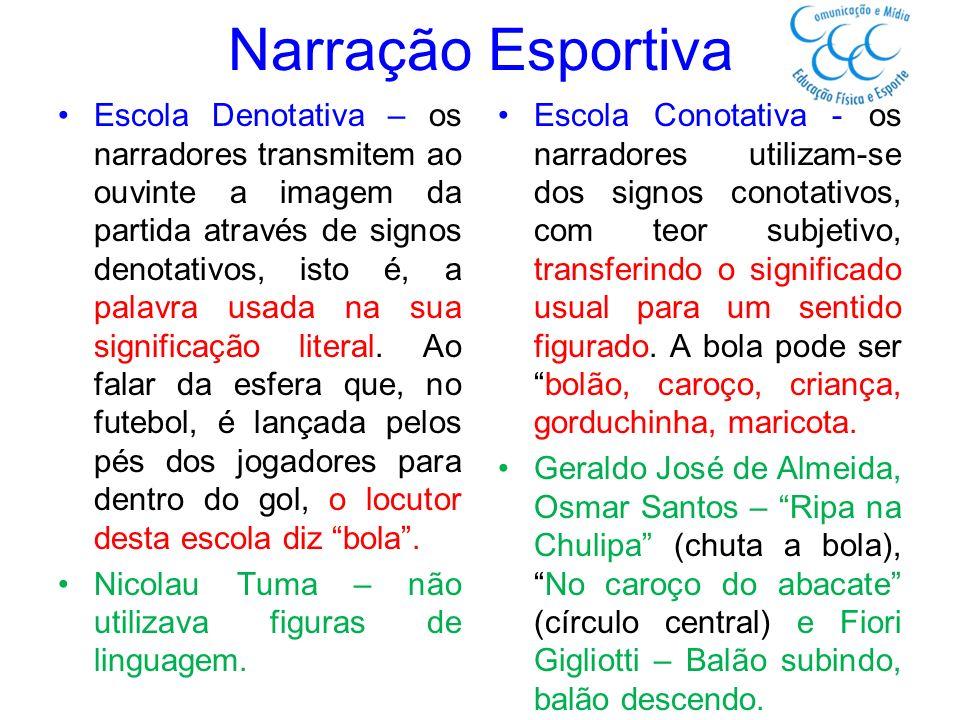 Narração Esportiva Escola Denotativa – os narradores transmitem ao ouvinte a imagem da partida através de signos denotativos, isto é, a palavra usada