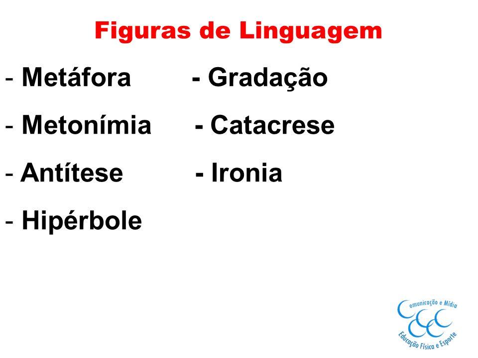 Figuras de Linguagem - Metáfora - Gradação - Metonímia - Catacrese - Antítese - Ironia - Hipérbole