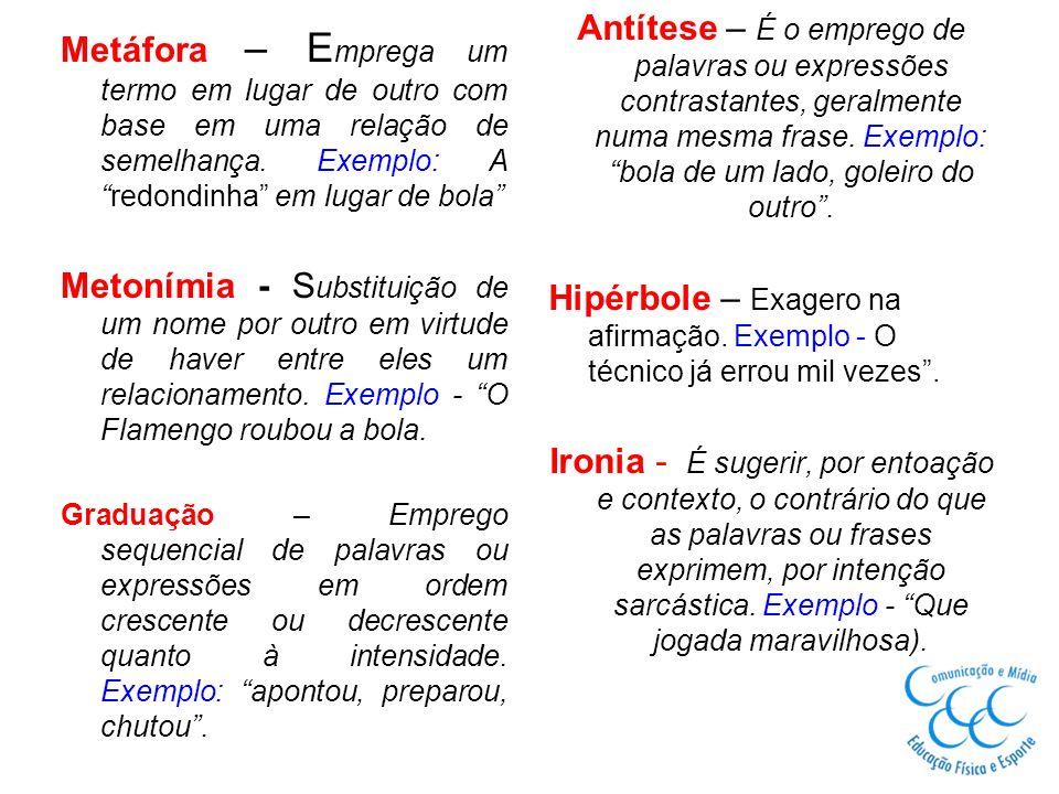 Metáfora – E mprega um termo em lugar de outro com base em uma relação de semelhança. Exemplo: Aredondinha em lugar de bola Metonímia - S ubstituição