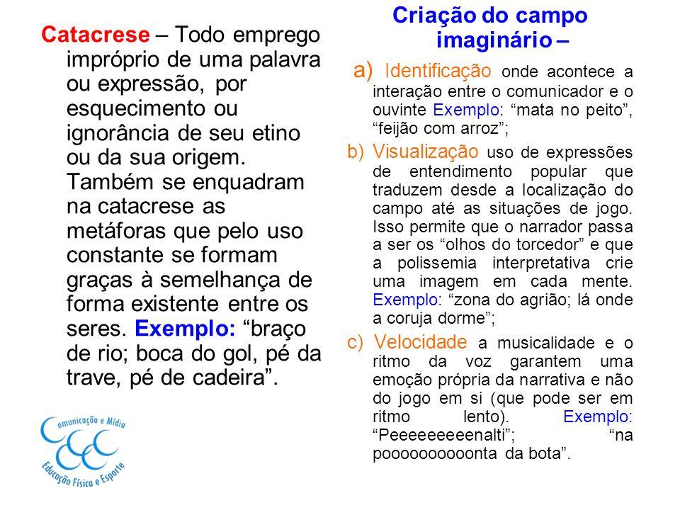 Catacrese – Todo emprego impróprio de uma palavra ou expressão, por esquecimento ou ignorância de seu etino ou da sua origem. Também se enquadram na c