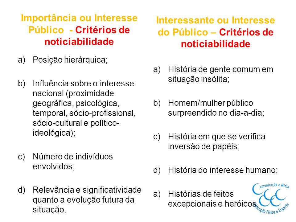 Importância ou Interesse Público - Critérios de noticiabilidade a)Posição hierárquica; b)Influência sobre o interesse nacional (proximidade geográfica