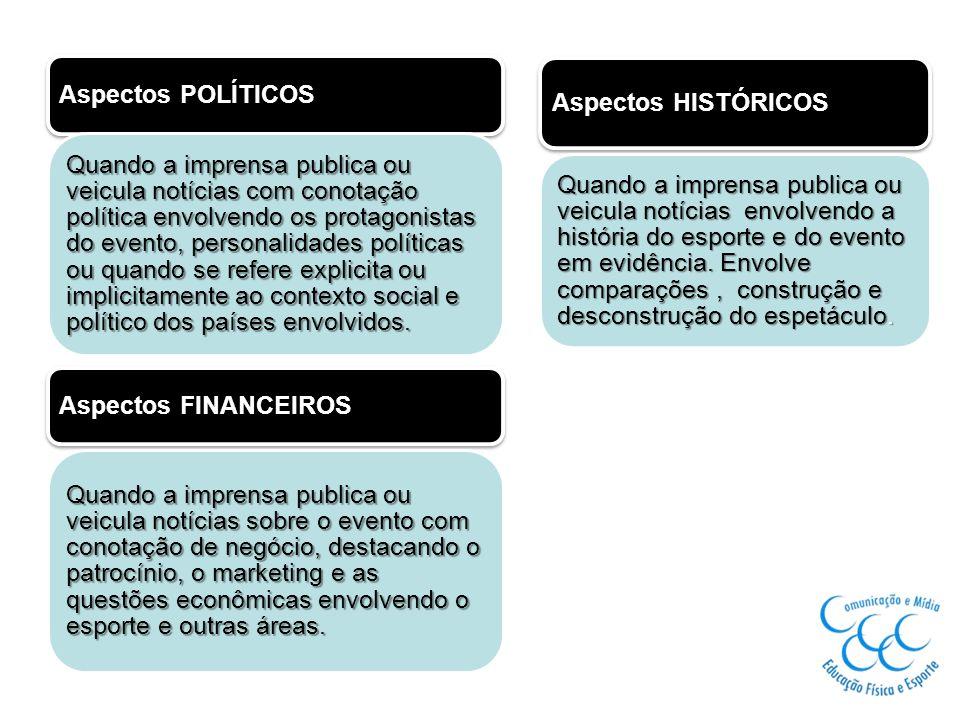 Aspectos POLÍTICOS Quando a imprensa publica ou veicula notícias com conotação política envolvendo os protagonistas do evento, personalidades política