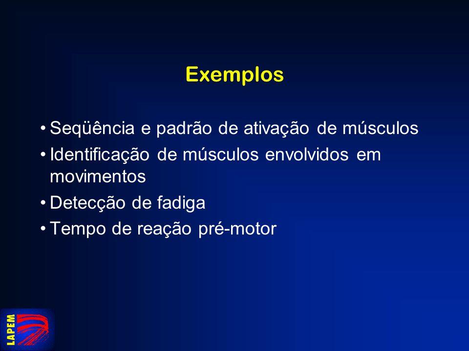 Exemplos Seqüência e padrão de ativação de músculos Identificação de músculos envolvidos em movimentos Detecção de fadiga Tempo de reação pré-motor