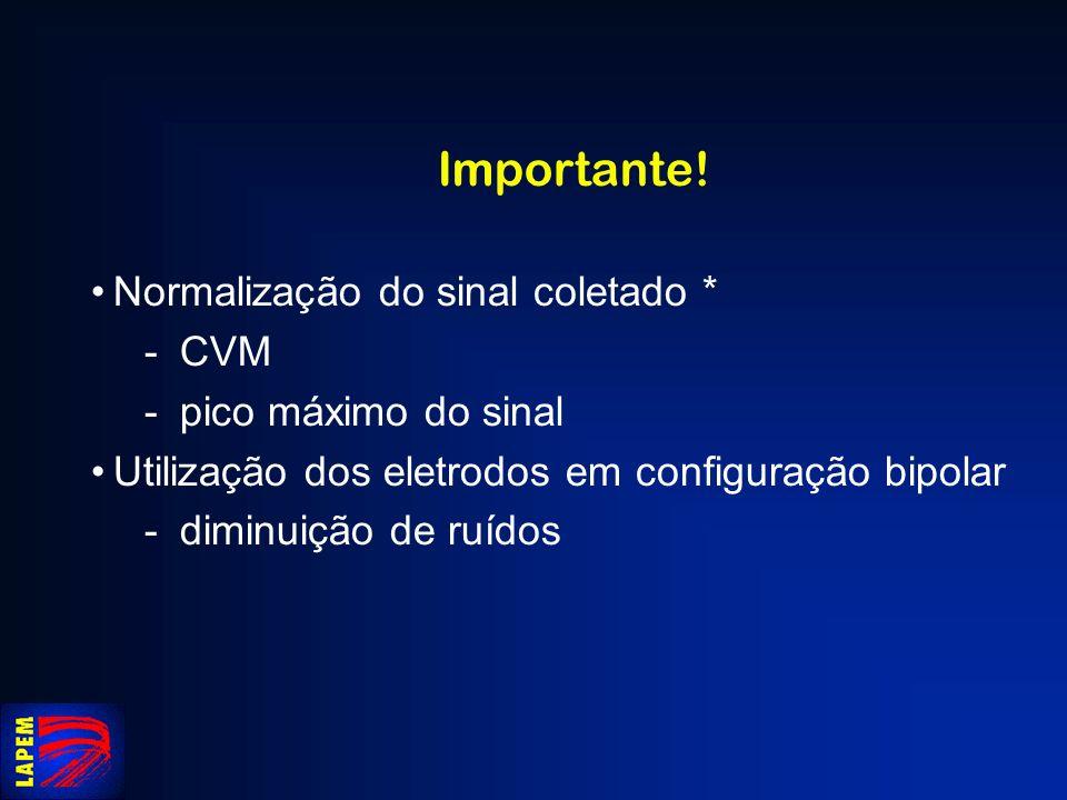 Importante! Normalização do sinal coletado * CVM pico máximo do sinal Utilização dos eletrodos em configuração bipolar diminuição de ruídos