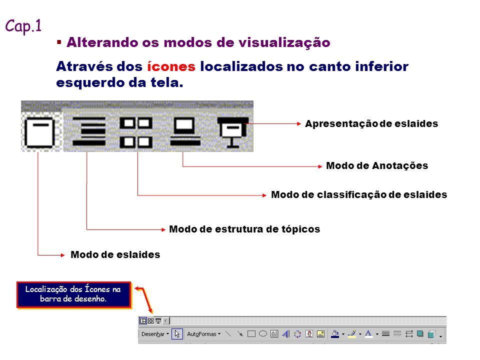 Alterando os modos de visualização Através dos ícones localizados no canto inferior esquerdo da tela. Modo de eslaides Apresentação de eslaides Modo d