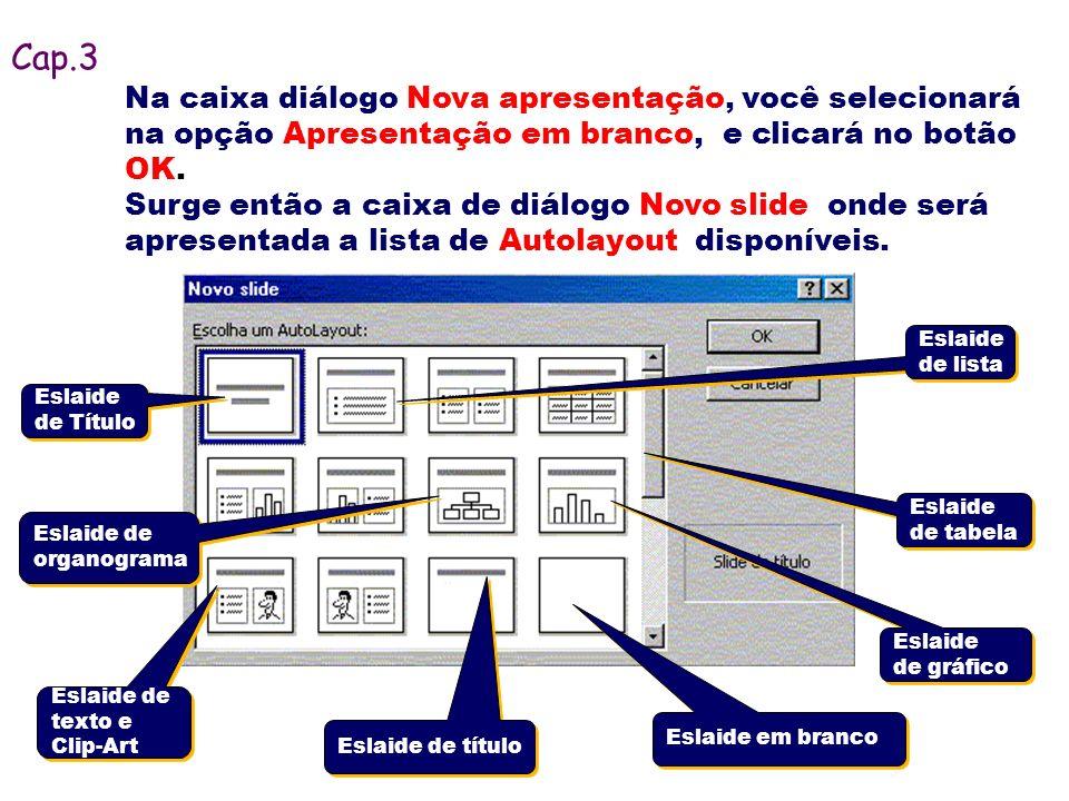 Na caixa diálogo Nova apresentação, você selecionará na opção Apresentação em branco, e clicará no botão OK. Surge então a caixa de diálogo Novo slide