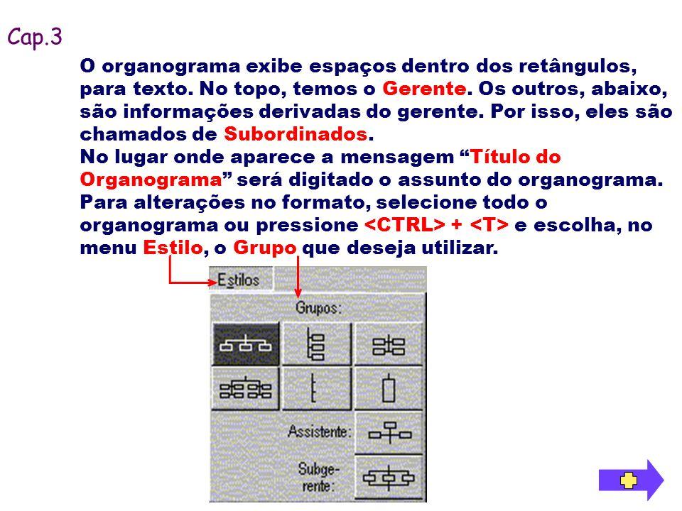 O organograma exibe espaços dentro dos retângulos, para texto. No topo, temos o Gerente. Os outros, abaixo, são informações derivadas do gerente. Por