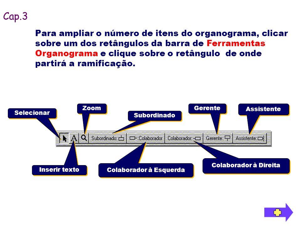 Para ampliar o número de itens do organograma, clicar sobre um dos retângulos da barra de Ferramentas Organograma e clique sobre o retângulo de onde p