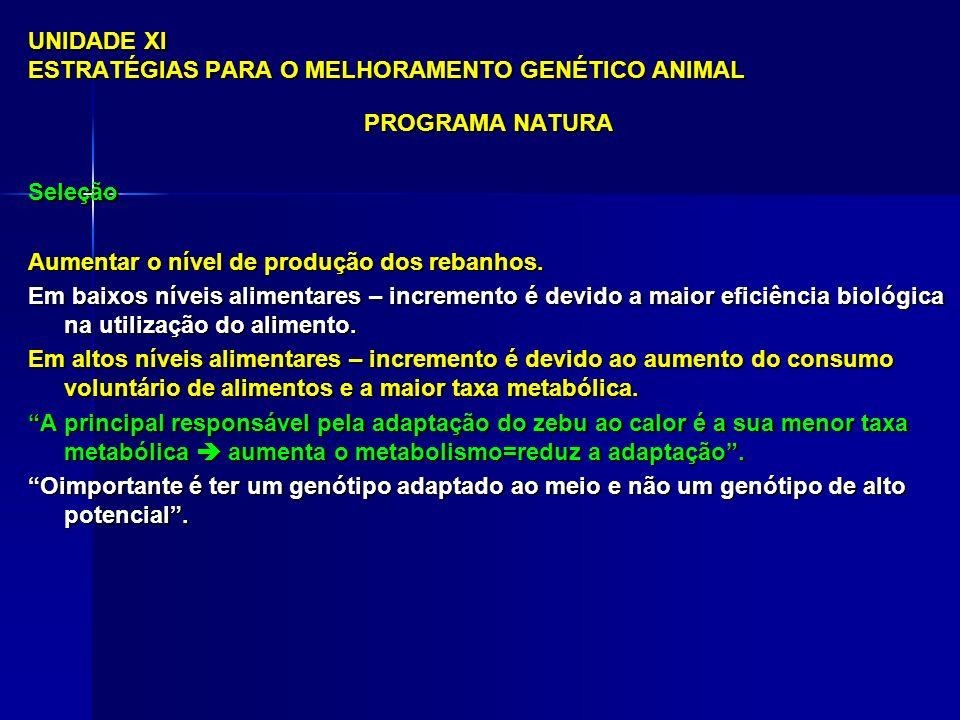 UNIDADE XI ESTRATÉGIAS PARA O MELHORAMENTO GENÉTICO ANIMAL PROGRAMA NATURA Seleção Aumentar o nível de produção dos rebanhos.