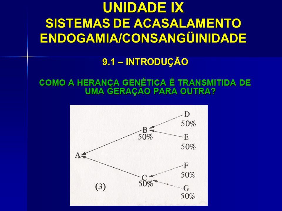 UNIDADE IX SISTEMAS DE ACASALAMENTO ENDOGAMIA/CONSANGÜINIDADE 9.1 – INTRODUÇÃO COMO A HERANÇA GENÉTICA É TRANSMITIDA DE UMA GERAÇÃO PARA OUTRA?