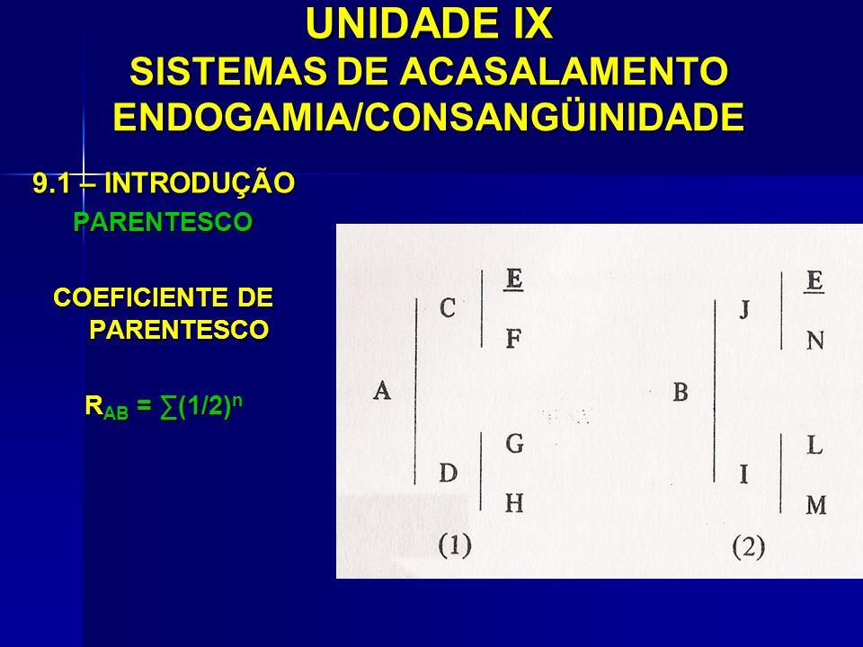 UNIDADE IX SISTEMAS DE ACASALAMENTO ENDOGAMIA/CONSANGÜINIDADE 9.1 – INTRODUÇÃO PARENTESCO COEFICIENTE DE PARENTESCO R AB = (1/2) n