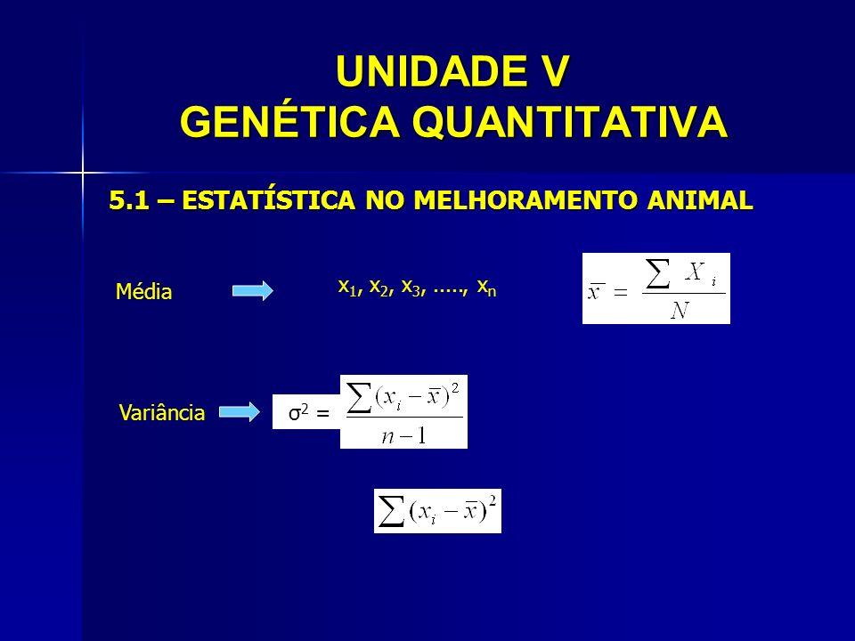 UNIDADE V GENÉTICA QUANTITATIVA 5.1 – ESTATÍSTICA NO MELHORAMENTO ANIMAL Média x 1, x 2, x 3,....., x n Variânciaσ 2 =