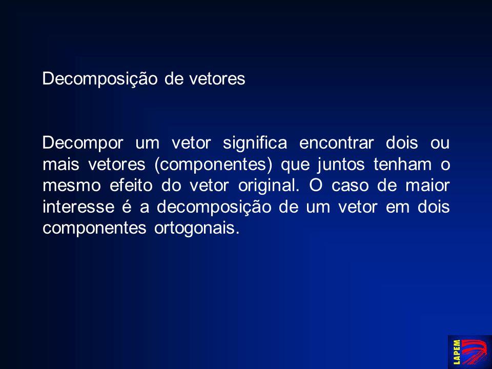 Decomposição de vetores Decompor um vetor significa encontrar dois ou mais vetores (componentes) que juntos tenham o mesmo efeito do vetor original. O
