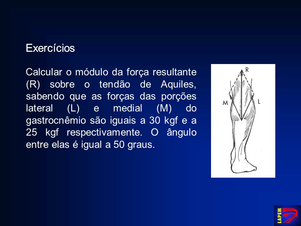 Exercícios Calcular o módulo da força resultante (R) sobre o tendão de Aquiles, sabendo que as forças das porções lateral (L) e medial (M) do gastrocn