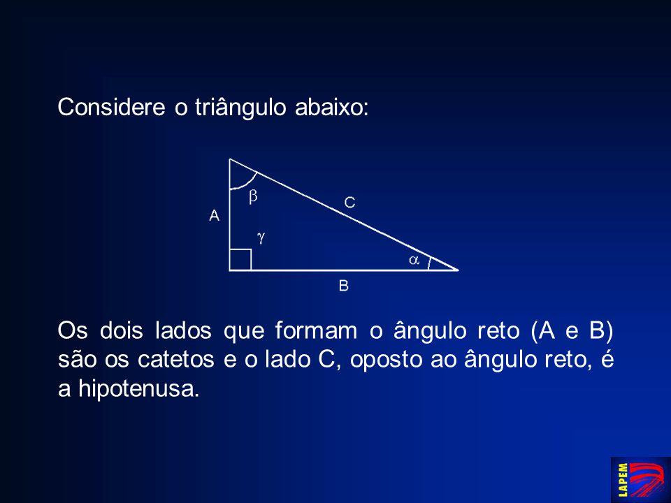 Considere o triângulo abaixo: Os dois lados que formam o ângulo reto (A e B) são os catetos e o lado C, oposto ao ângulo reto, é a hipotenusa.