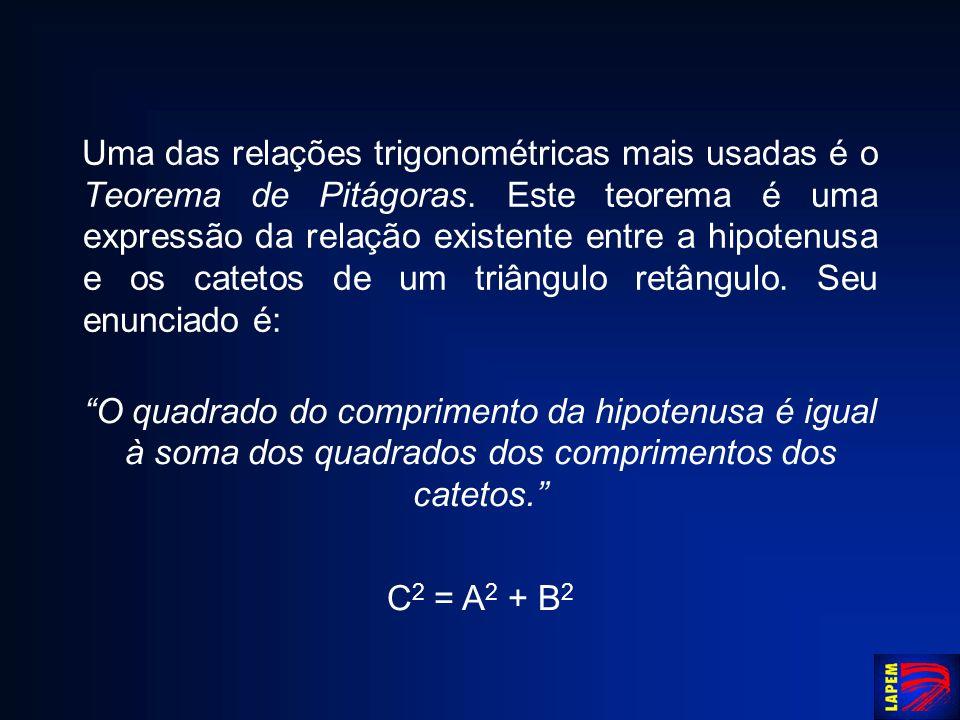 Uma das relações trigonométricas mais usadas é o Teorema de Pitágoras. Este teorema é uma expressão da relação existente entre a hipotenusa e os catet