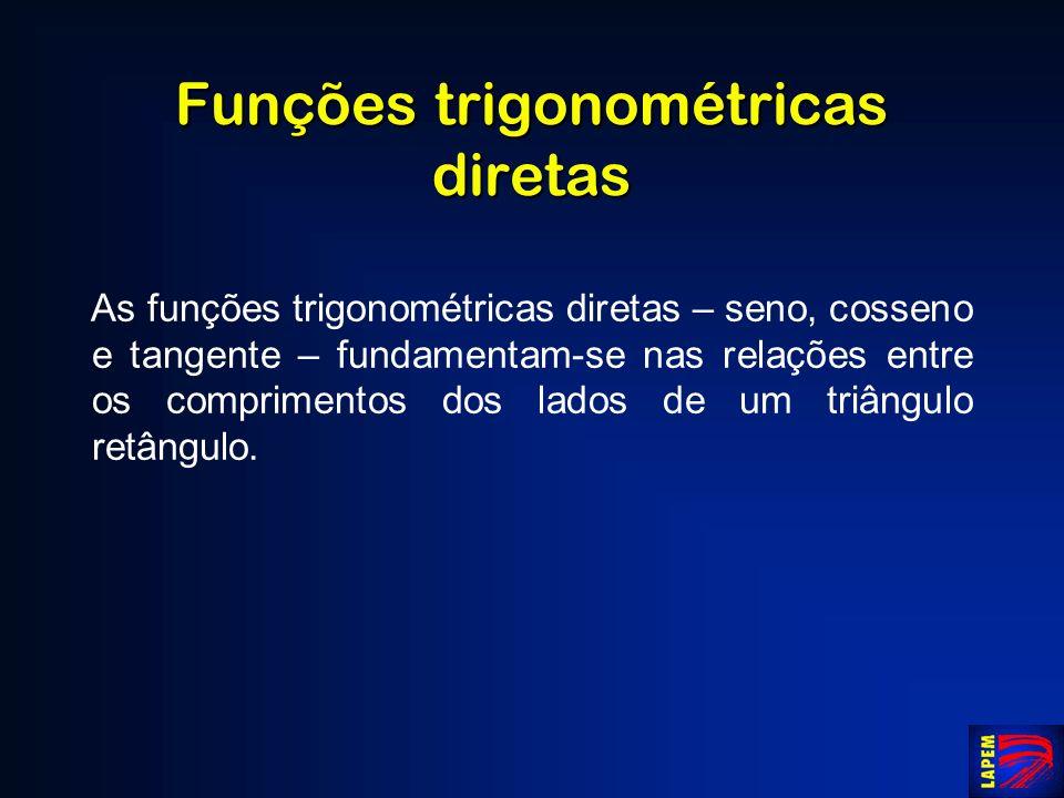 Funções trigonométricas diretas As funções trigonométricas diretas – seno, cosseno e tangente – fundamentam-se nas relações entre os comprimentos dos