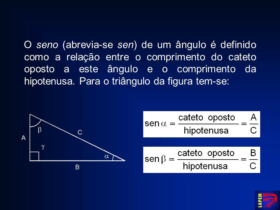 O seno (abrevia-se sen) de um ângulo é definido como a relação entre o comprimento do cateto oposto a este ângulo e o comprimento da hipotenusa. Para