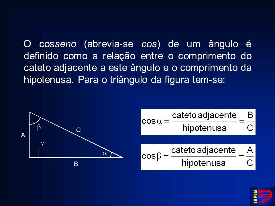 O cosseno (abrevia-se cos) de um ângulo é definido como a relação entre o comprimento do cateto adjacente a este ângulo e o comprimento da hipotenusa.