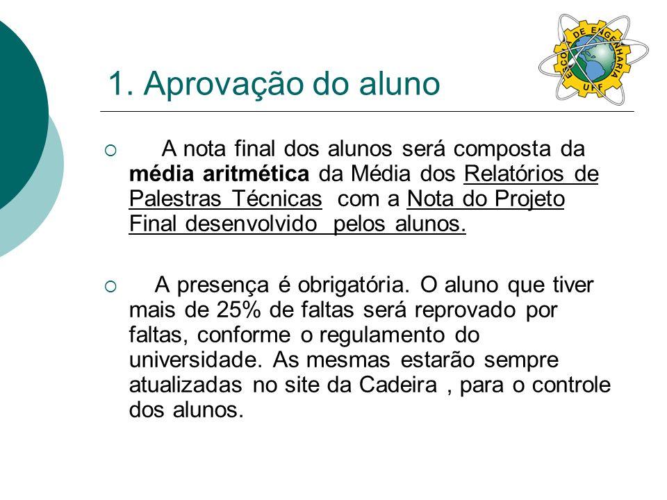 1. Aprovação do aluno A nota final dos alunos será composta da média aritmética da Média dos Relatórios de Palestras Técnicas com a Nota do Projeto Fi
